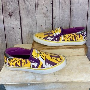 Los Angeles Lakers Slip-On Canvas Shoes size 8